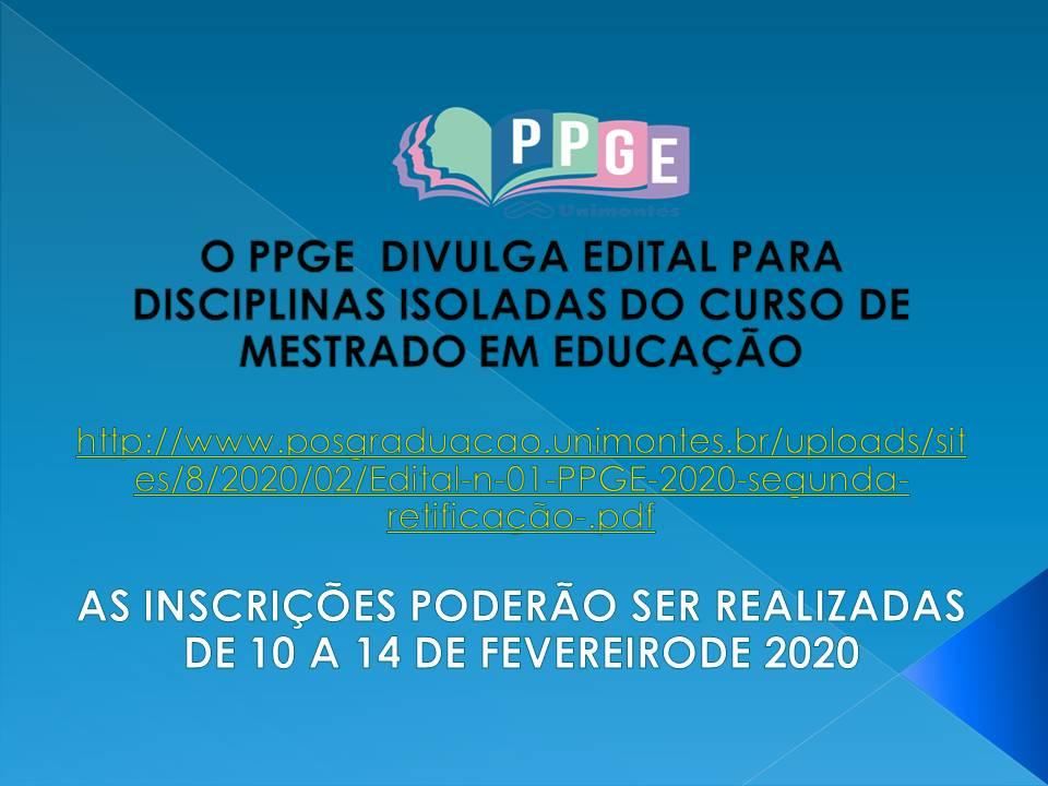 PPGE LANÇA EDITAL PARA DISCIPLINAS ISOLADAS